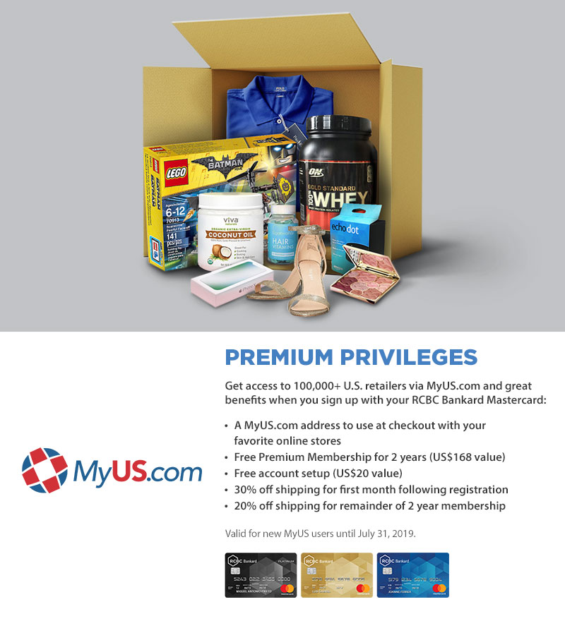 Premium Privileges at MyUS com – RCBC Bankard
